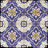 Gorgeous seamless patchwork pattern from grunge Moroccan tiles Stock Photo