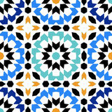 Gorgeous seamless pattern from blue Moroccan tiles, ornaments. Stock Images