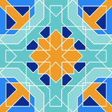 Gorgeous seamless pattern from blue Moroccan tiles, ornaments. Royalty Free Stock Photography