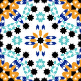 Gorgeous seamless pattern from blue Moroccan tiles, ornaments. Royalty Free Stock Photos