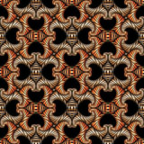 Gorgeous seamless pattern with bronze shades decorative ornament on black background Stock Photo