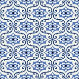Gorgeous seamless pattern from colorful floral Moroccan, Portuguese tiles, Azulejo, ornaments vector illustration