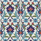 Gorgeous seamless  pattern from colorful floral Moroccan, Portuguese  tiles, Azulejo, ornaments. Stock Photos