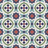 Gorgeous seamless  pattern from colorful floral Moroccan, Portuguese  tiles, Azulejo, ornaments. Stock Image