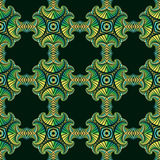 Gorgeous seamless pattern with colorful gradient decorative ornament on dark green background Royalty Free Stock Photography