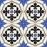 Gorgeous seamless  pattern from dark blue and white Moroccan, Portuguese  tiles, Azulejo, ornaments. Royalty Free Stock Image