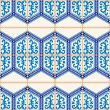 Gorgeous seamless  pattern from dark blue and white Moroccan, Portuguese  tiles, Azulejo, ornaments. Royalty Free Stock Images