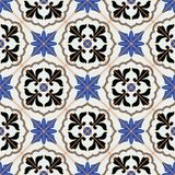 Gorgeous seamless  pattern from dark blue and white Moroccan, Portuguese  tiles, Azulejo, ornaments. Royalty Free Stock Photography