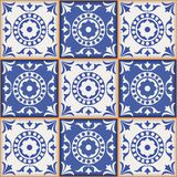 Gorgeous seamless  pattern from dark blue and white Moroccan, Portuguese  tiles, Azulejo, ornaments. Can be used for wallpaper, pattern fills, web page Royalty Free Stock Images