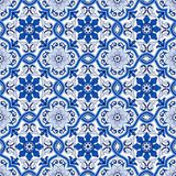 Gorgeous seamless pattern from dark blue and white Moroccan, Portuguese tiles, Azulejo, ornaments. Can be used for. Wallpaper, pattern fills, web page Royalty Free Stock Images