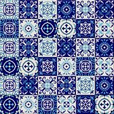 Gorgeous seamless pattern from dark blue and white Moroccan, Portuguese tiles, Azulejo, ornaments. Can be used for. Wallpaper, pattern fills, web page Stock Photos