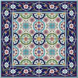 Gorgeous Seamless Pattern From Tiles And Border. Moroccan, Portuguese,Turkish, Azulejo Ornaments. Royalty Free Stock Photos