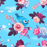Gorgeous seamless pattern with half-colored wild roses and pretty little bird against blue clear sky on background. Spring bloom. Stock Photography