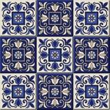 Gorgeous seamless  pattern . Moroccan, Portuguese  tiles, Azulejo, ornaments. Stock Photo