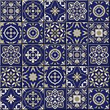 Gorgeous seamless  pattern . Moroccan, Portuguese  tiles, Azulejo, ornaments. Gorgeous seamless  pattern from dark blue and white Moroccan, Portuguese  tiles Stock Photography