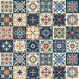 Gorgeous seamless pattern . Moroccan, Portuguese tiles, Azulejo, ornaments. stock illustration