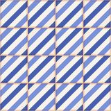 Gorgeous seamless  pattern from  Moroccan tiles, ornaments of blue stripes. Stock Photo