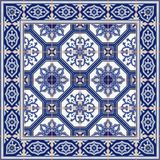 Gorgeous seamless  pattern from tiles and border. Moroccan, Portuguese, Azulejo ornaments. Stock Photos