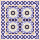 Gorgeous seamless  pattern from tiles and border. Moroccan, Portuguese, Azulejo ornaments. Royalty Free Stock Images
