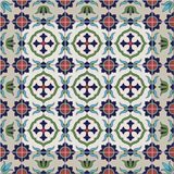 Gorgeous seamless  pattern from tiles and border. Moroccan, Portuguese, Azulejo ornaments. Royalty Free Stock Photos