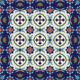 Gorgeous seamless  pattern from tiles and border. Moroccan, Portuguese, Azulejo ornaments. Stock Image