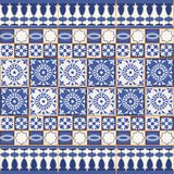 Gorgeous seamless pattern from tiles and border. Moroccan, Portuguese, Azulejo ornaments. stock illustration