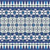 Gorgeous seamless  pattern from tiles and border. Moroccan, Portuguese, Azulejo ornaments. Royalty Free Stock Photography