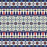 Gorgeous seamless  pattern from tiles and border. Moroccan, Portuguese, Azulejo ornaments. Can be used for wallpaper, pattern fills, web page background Stock Image