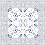 Gorgeous seamless pattern from tiles and border. Moroccan, Portuguese,Turkish, Azulejo ornaments. For wallpaper, pattern fills, we. B page background design Stock Images