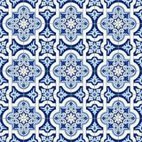 Gorgeous seamless pattern white blue Moroccan, Portuguese tiles, Azulejo, ornaments. Can be used for wallpaper, pattern. Fills, web page background,surface Stock Photos