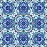 Gorgeous seamless pattern white blue Moroccan, Portuguese tiles, Azulejo, ornaments. Can be used for wallpaper, pattern. Fills, web page background,surface Royalty Free Stock Photography