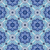 Gorgeous seamless pattern white blue Moroccan, Portuguese tiles, Azulejo, ornaments. Can be used for wallpaper, pattern. Fills, web page background,surface Royalty Free Stock Photo