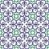 Gorgeous seamless pattern white blue Moroccan, Portuguese tiles, Azulejo, ornaments. Can be used for wallpaper, pattern. Fills, web page background,surface Stock Photo