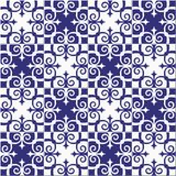 Gorgeous seamless pattern white blue Moroccan, Portuguese tiles, Azulejo, ornaments. Can be used for wallpaper, pattern. Fills, web page background,surface Stock Photography