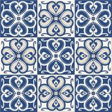 Gorgeous seamless  pattern  white colorful Moroccan, Portuguese  tiles, Azulejo, ornaments. Stock Images