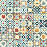 Gorgeous seamless pattern white colorful Moroccan, Portuguese tiles, Azulejo, ornaments. Can be used for wallpaper. Pattern fills, web page background,surface Stock Photo