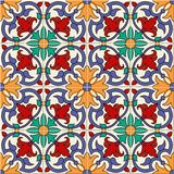 Gorgeous seamless pattern white colorful Moroccan, Portuguese tiles, Azulejo, ornaments. Can be used for wallpaper. Pattern fills, web page background,surface Stock Image