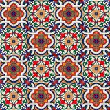 Gorgeous seamless pattern white colorful Moroccan, Portuguese tiles, Azulejo, ornaments. Can be used for wallpaper. Pattern fills, web page background,surface Royalty Free Stock Photo