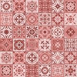 Gorgeous seamless  pattern  white marsala color Moroccan, Portuguese  tiles, Azulejo, ornaments. Stock Photo