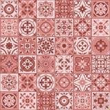 Gorgeous seamless  pattern  white marsala color Moroccan, Portuguese  tiles, Azulejo, ornaments. Stock Photo