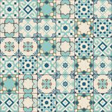 Gorgeous Seamless Pattern White Old Green Moroccan, Portuguese Tiles, Azulejo, Ornaments. Can Be Used For Wallpaper Stock Images