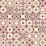 Gorgeous seamless pattern white old pink Moroccan, Portuguese tiles, Azulejo, ornaments. Can be used for wallpaper. Pattern fills, web page background,surface Stock Image