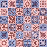 Gorgeous seamless  pattern  white Rose Quartz and Serenity colors Moroccan, Portuguese  tiles, Azulejo, ornaments.  Royalty Free Stock Photography