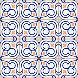 Gorgeous seamless  pattern  white Turkish, Moroccan, Portuguese  tiles, Azulejo, Arabic ornament. Islamic art. Stock Photography