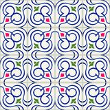 Gorgeous seamless  pattern  white Turkish, Moroccan, Portuguese  tiles, Azulejo, Arabic ornament. Islamic art. Stock Images