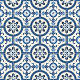 Gorgeous seamless  pattern  white Turkish, Moroccan, Portuguese  tiles, Azulejo, ornament. Stock Image