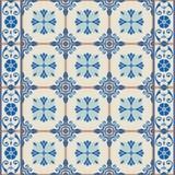 Gorgeous seamless  pattern  white Turkish, Moroccan, Portuguese  tiles, Azulejo, ornament. Vintage seamless  pattern from grunge Moroccan, Portuguese, Azulejo Royalty Free Stock Image