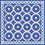 Gorgeous seamless  pattern  white Turkish, Moroccan, Portuguese  tiles and border, Azulejo, Arabic ornament. Stock Images