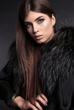 Gorgeous sensual woman with dark straight hair wears elegant fur coat Royalty Free Stock Photo