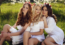 Gorgeous sensual women with luxurious hair in elegant dress posing in blossom garden Royalty Free Stock Images